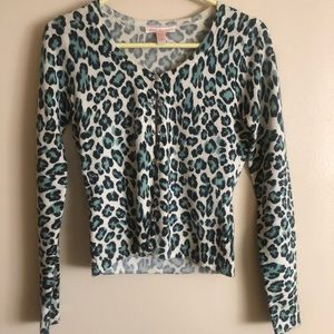 Betsey Johnson Blue Leopard Print Cardigan
